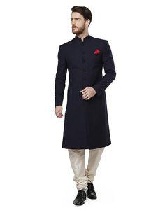 Royal NavyBlue Solid Mandarin Sherwani For Men #Sherwani                                                                                                                                                                                 More