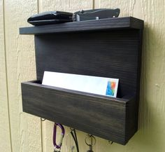 Mail and Key Rack / Mail Organizer / The SERENDIPITY / Mail and Key Holder / Key Hooks / Wiped Off Beluga Black Paint This item features a