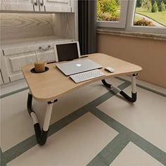 Laptop Bed Table ACITMEX Foldable Portable Lap Standing Desk with Cup Slot Notebook Stand Breakfast Bed Tray Book Holder for Sofa Bed Terrace Balcony Garden - Gold Phones-Communication Chargers Phones-Communication Audio Streaming Devices Clients Study Table And Chair, Bed Table, Table Desk, Study Tables, Folding Table Legs, Folding Walls, Laptop Table For Bed, Foldable Table, Bed Tray