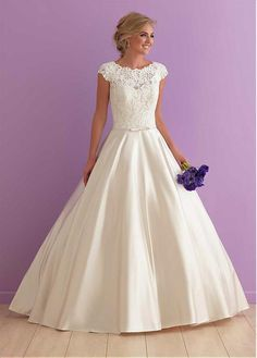 Stunning Tulle & Satin Jewel Neckline A-line Wedding Dresses with Lace Appliques