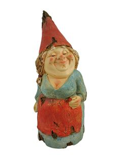 Gnome Statues | Wooden Look Bashful Lady Garden Gnome Statue