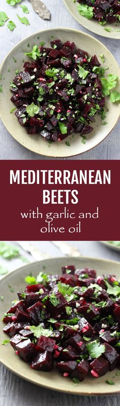 These Mediterranean Beets with Garlic and Olive Oil can be served as a salad or side dish. They are healthy, full of flavor and really easy to make. Only 5 ingredients! #beets #Mediterranean #salad #glutenfree #vegan #recipe #dairyfree