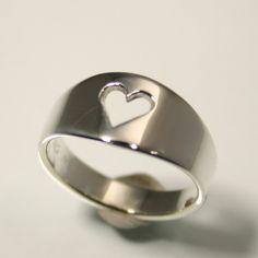 Sterling Silver Stolen Heart Ring Handmade by HarvestGoldJewelry