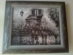 Black and white oil panting on canvas Paris at night, oil on canvas Paris