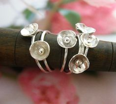 Enoki mushroom ring by wearthou on Etsy, $26.00