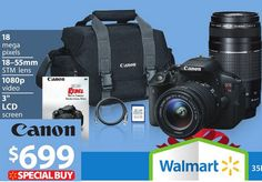Canon Black EOS Rebel T5i Digital SLR Camera with 18 Megapixels and 18-55mm and 75-300mm Lenses Included from Walmart $749.00