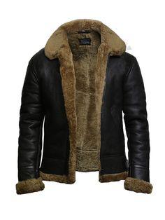 Luke evan B3 bomber RAF aviator flight pilot leather jacket mens sheep skin