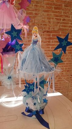 Princess Rosalina instead. Disney Princess Babies, Disney Princess Birthday Party, Princess Theme Party, Cinderella Birthday, Barbie Birthday, Cinderella Centerpiece, Princess Centerpieces, Birthday Party Centerpieces, Cinderella Invitations