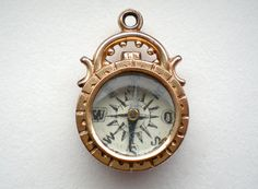"""Etsy shop>>>       treasurebooth      Antique Treasures and Creative Supplies    """"Antique Victorian Compass Pendant Charm Moss Agate"""""""