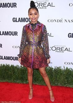 Perfection: Yara Shahidi, 16, looked beautiful in her colorful mini dress, adding a top kn...