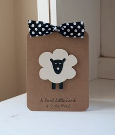 Sheep Lamb Baby Shower Invitations Neutral Thank You Notes Black and White Kraft Rustic VIntage by CardinalBoutique on Etsy