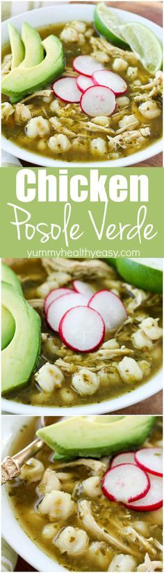 This Chicken Posole Verde Recipe has shredded chicken and tender hominy in a crazy flavorful verde broth! Such wonderful flavor in the verde sauce, you won't even believe it! This soup is best served with radishes, cilantro, avocado, queso fresco and/or tortilla chips. Green Chicken Pozole Recipe, Chicken Caldo, Chicken Avocado Soup, Chicken Chili Verde, Soup With Rotisserie Chicken, Green Chili Chicken Crockpot, Cilantro Soup Recipe, Chicken Poblano Soup, Chili Verde Sauce