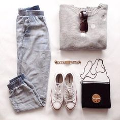 Off-Figure: This image shows a very clean cut image of styling. It pairs basics with other basics that will tie the whole outfit together. It has everything from pants, sweatshirt, shoes to having the accessories like a purse and sunglasses. It isn't a very fancy outfit but more of an outfit that everyone could put together and adapt into their wardrobe.