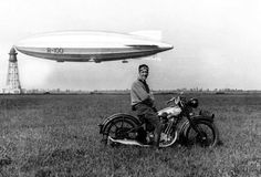 Motorcycle and a blimp
