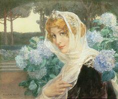 Jeune femme aux hortensias, Élisabeth Sonrel