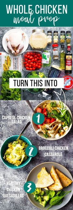 Whole Chicken Meal Prep With Instant Pot. This whole chicken meal prep post is showing you how to use one whole chicken plus four other ingredients as the base for three dinner recipes! Includes shopping list and a video prep tutorial. Chicken Meal Prep, Roast Chicken Recipes, Meal Prep Containers, Meal Prep Bowls, Balsamic Vinaigrette Recipe, Fitness Meal Prep, Perfect Roast Chicken, Meal Prep Plans, Food Prep