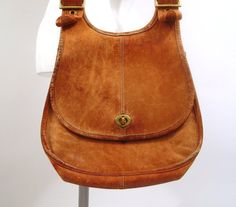 Brown Coach Purse Vintage 1970s Distressed by purevintageclothing