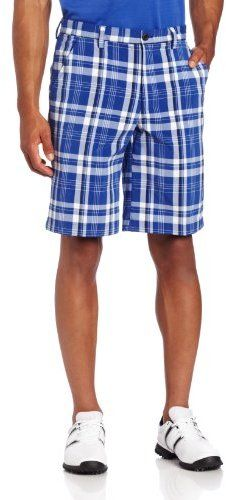 $52, Izod Flat Front Fancy Plaid Golf Short. Sold by Amazon.com. Click for more info: https://lookastic.com/men/shop_items/19816/redirect