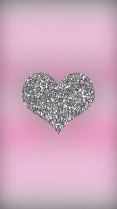 Fondo de corazón brillante | Sparkly heart wallpaper - #fondos #backgrounds #rosado #pink #plateado #silver