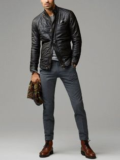 Shop this look on Lookastic:  http://lookastic.com/men/looks/bomber-jacket-crew-neck-sweater-scarf-dress-pants-boots/7461  — Black Quilted Leather Bomber Jacket  — Grey Crew-neck Sweater  — Burgundy Print Scarf  — Charcoal Wool Dress Pants  — Dark Brown Leather Boots