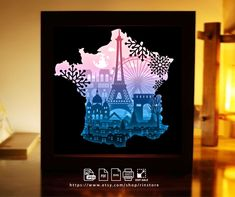 149 France Paris 3d Paper Cut Lightbox Template Merry Xmas | Etsy City Sketch, Frame Crafts, Craft Frames, Paper Light, Cricut, Anniversary Gifts For Him, Shadow Box Frames, Color Effect, Silhouette Machine