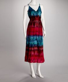 Take a look at this Blue & Fuchsia Tie-Dye Plus-Size Maxi Dress by Dress Accordingly: Women's Frocks on #zulily today!