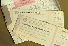Another example of a plane ticket wedding invitation.