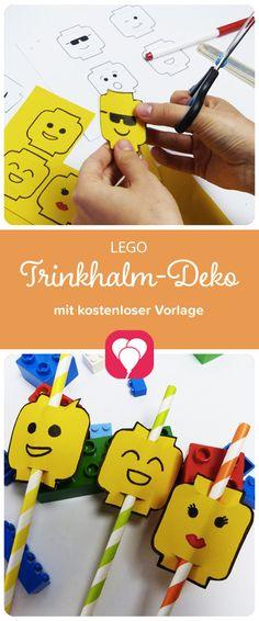 Trinkhalm-Deko als Vorlage! Wir veranstalten eine Lego-Party! Und die Trinkhalme verwandeln wir dazu in kleine Legomännchen! Auf blog.balloonas.com gibt's die passende kostenlose Vorlage dafür!  Weitere tolle Ideen für den nächsten Lego-Kindergeburtstag - von der Einladung über die Deko bis zu den Gastgeschenken - findest Du auf blog.balloonas.com! #kindergeburtstag #motto #mottoparty #party #lego #balloonas #food #essen #deko #ideen #backen