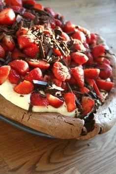 Strawberry chocolate pavlova