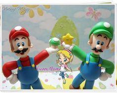Mario e Luigi para enfeite de bolo