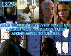 """A comparison of Spike telling Buffy that every slayer has a death wish and Faith asking Angel to kill her"""