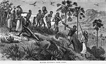 Mozambique history. Arab slave traders and their captives along the Ruvuma river