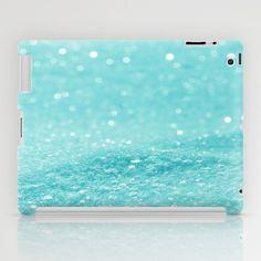 Glitter Turquoise iPad Case by Alice Gosling - $60.00  Available as iPad Mini, iPad 2nd, 3rd, 4th Gen. #ipad #glitter #sparkle #sparkling #glittery #blue #turquoise