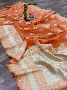 Soft linen silk saree/ orange saree/ saree for women/ designer saree/ traditional saree/ bridal saree/ indian saree/ saree blouse/ saree Traditional Indian Wedding, Traditional Sarees, Cotton Saree, Cotton Silk, Saree Blouse, Sari, Saree Tassels, Orange Saree, Work Sarees