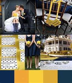 Photo Collage of navy and yellow wedding