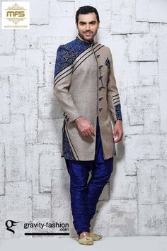 Grey designer indowestern wedding sherwani with blue breeches J15276
