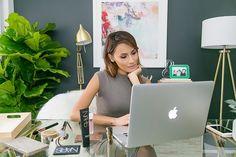 YouTube star, Desi Perkins inside her renovated home office