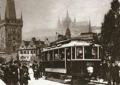An electrical tram on Charles Bridge - 1905