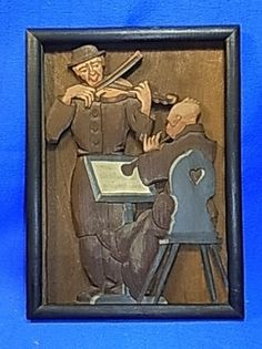 Antique German Wood Carved Tramp Art Picture Frame Handpainted Conductor