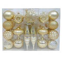 Christmas Glass Ornament Set 3 ct Gold Foil Pattern  Merryl  GH