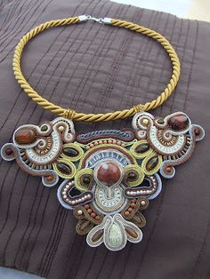 Soutache Pendant, Soutache Necklace, Crochet Necklace, Pendant Necklace, Earrings, Quilling Designs, Shibori, Statement Jewelry, Jewerly