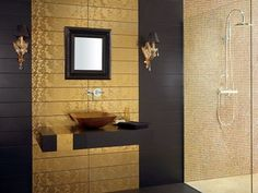 Gold and black bathroom tiles