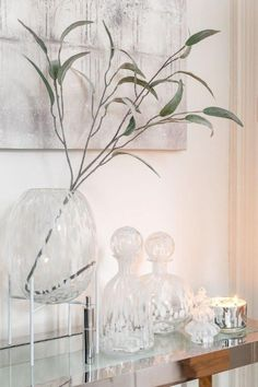 Console, Friend Wedding, Transparent, Decoration, Interior Inspiration, Flower Power, Glass Vase, Candle Holders, Candles