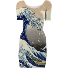 Great Wave Short Sleeved Bodycon Dress - Available Here: http://printallover.me/products/0000000p-great-wave-8