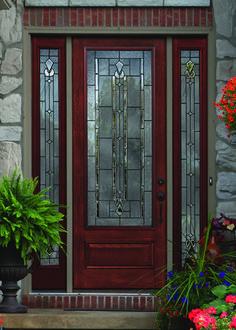 Fresh Red Fiberglass Entry Door