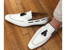 Handmade Men White leather slip ons loafer shoes, Men tassels shoes moccasins - Dress/Formal