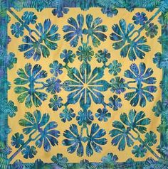 """May Apple"" Hawaiian quilt by Debby Patz. Love the colors of the batik!"