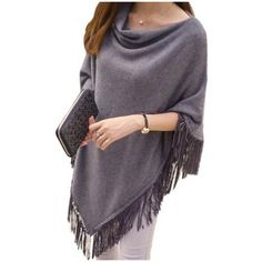 Women's LeaderPal Women's Pullover Batwing Sleeves Sweater Poncho Cape... ($9) ❤ liked on Polyvore featuring outerwear, grey, grey poncho, poncho cape coat, poncho pullover, grey cape and cape coats