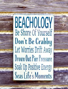 Beach Sign Beachology Unique Beach Theme Home Decor Rustic Wood Wall Art Custom Nautical Wooden Plaque Rules Wisdom Lessons Advice From The Ocean Gift