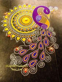 18 Gorgeous Indian Rangoli designs for Diwali - The Champa T.- 18 Gorgeous Indian Rangoli designs for Diwali – The Champa Tree 18 Gorgeous Indian Rangoli designs for Diwali: thechampatree. Rangoli Designs Peacock, Indian Rangoli Designs, Rangoli Designs Latest, Rangoli Border Designs, Rangoli Patterns, Colorful Rangoli Designs, Rangoli Ideas, Peacock Art, Peacock Tattoo